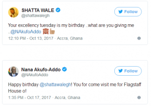 """On Tuesday, October 17, President Nana Addo Dankwa Akufo-Addo set social media ablaze when he sent a tweet wishing dancehall artiste Shatta Wale happy birthday.  What made that tweet unique was that the President addressed the dancehall artiste in pidgin.  It started as a simple request from dancehall artiste Shatta Wale on Twitter on October 13 to President Akufo-Addo. He asked the President, """"Your Excellency, Tuesday is my birthday ..what are you giving me ..@NAkufoAddo """"  When Shatta Wale, born Charles Nii Armah Mensah Jnr. on October 17, 1984, turned 33, he received a rather exciting message from the President.  President Akufo-Addo wished the 'Taking Over' hit singer """"Happy birthday @shattawalegh!"""" Shatta Wale would have been satisfied with the fact that the President recognized him on his birthday but the First Gentleman was not done yet. Taking things a notch higher and in pidgin, the President added that, """"You for come visit me for Flagstaff House o!""""  Overwhelmed by the message from President Akufo-Addo, the dancehall artiste swiftly responded, """"ah! but @NAkufoAddo U be guy oo!! pidgin reply paaa...i feel you ruff..lol""""  Shatta Wale thanked the President for the birthday message and noted that he will pay him a visit soon. """"Thank you, your Excellency. I will follow the necessary procedures and pay a visit soon Mr President. I hope my land cruiser will be ready"""""""