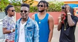 Shatta Wale & his SM Militants in the studio recording a 'proper' hit song