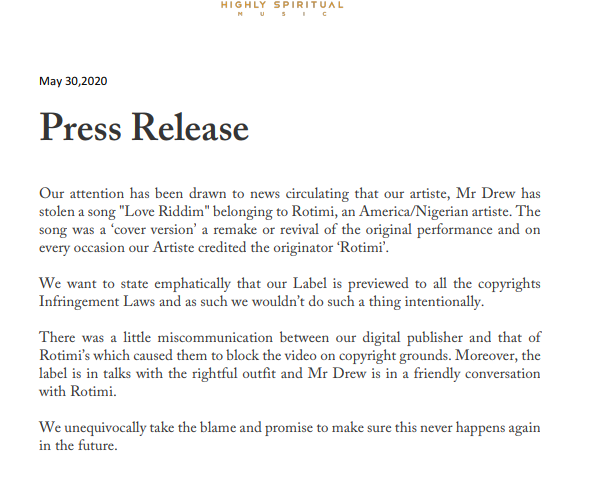 "Highly  Spiritual Music  releases a press statement concerning Mr.Drew's ""Love Riddim"" issue"